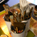 Seth Smith's collection of paint brushes.