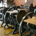 A line of letterpress machines in the Two Tone Press studio.