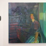 A painting-in-progress hangs on the wall in Kathy Liao's studio.