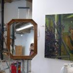 Kathy's self-portrait setup alongside Self Portrait with Purple Hearts by Kathy Liao. Bonus! Spot the host and guest!